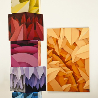 Stacked Cubes of crystalline canvas cubes by Apexer, San Francisco