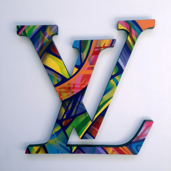 LV Shaped Letters created by Apexer with artwork sprayed on