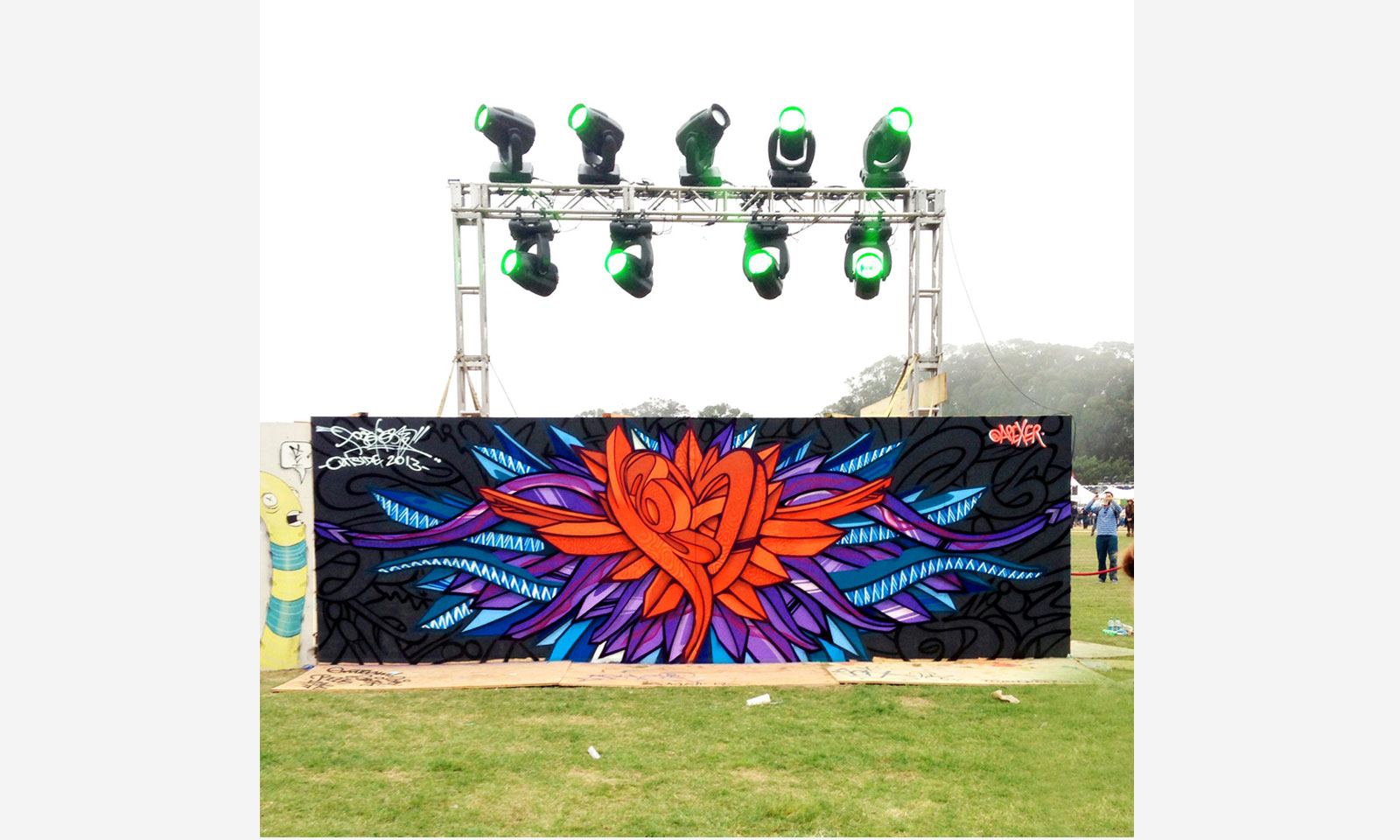 Mural created by Apexer at Outsidelands Music Festival, San Francisco, 2013