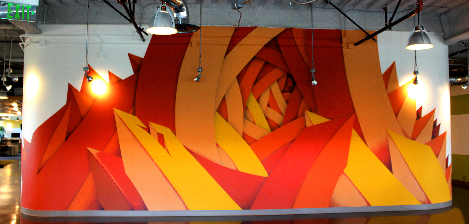 Apexer was commissioned to create a monochromatic mural for their San Francisco office