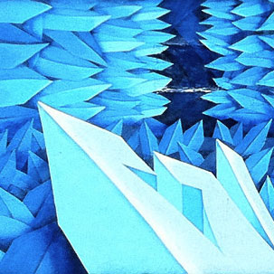 Close up of Art Basel mural of blue crystals by Apexer, Miami