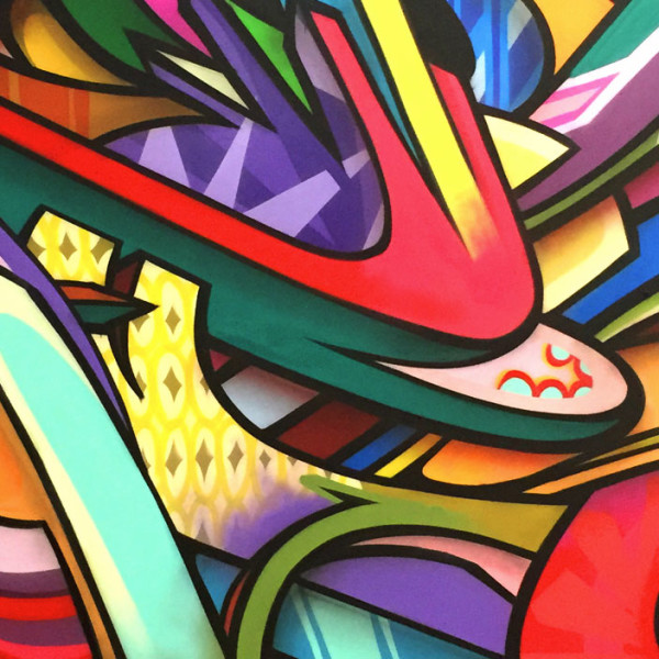 close up of painted abstract shapes by Apexer